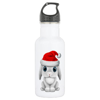 White Baby Bunny Wearing a Santa Hat 532 Ml Water Bottle