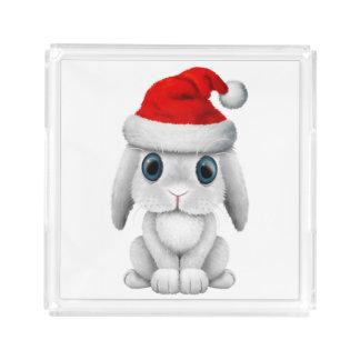 White Baby Bunny Wearing a Santa Hat Acrylic Tray