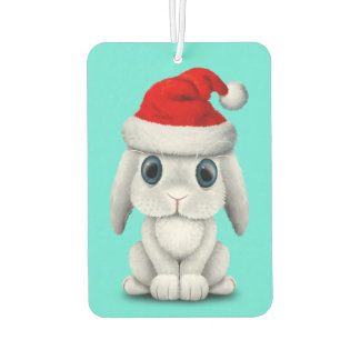 White Baby Bunny Wearing a Santa Hat Air Freshener