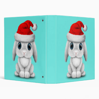 White Baby Bunny Wearing a Santa Hat Binder