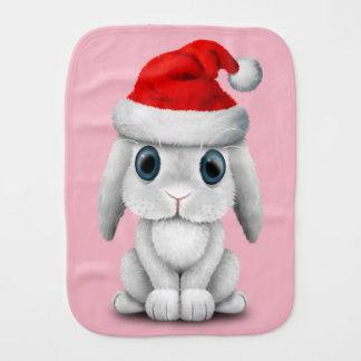 White Baby Bunny Wearing a Santa Hat Burp Cloth