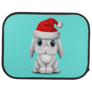 White Baby Bunny Wearing a Santa Hat Car Mat