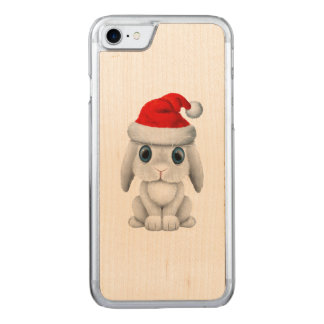 White Baby Bunny Wearing a Santa Hat Carved iPhone 8/7 Case