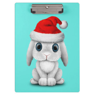 White Baby Bunny Wearing a Santa Hat Clipboard