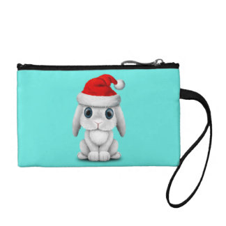 White Baby Bunny Wearing a Santa Hat Coin Purse