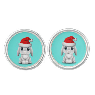 White Baby Bunny Wearing a Santa Hat Cuff Links