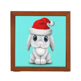White Baby Bunny Wearing a Santa Hat Desk Organizer