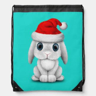 White Baby Bunny Wearing a Santa Hat Drawstring Bag