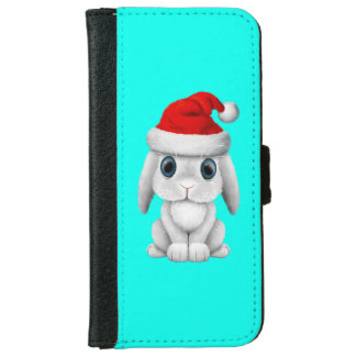 White Baby Bunny Wearing a Santa Hat iPhone 6 Wallet Case