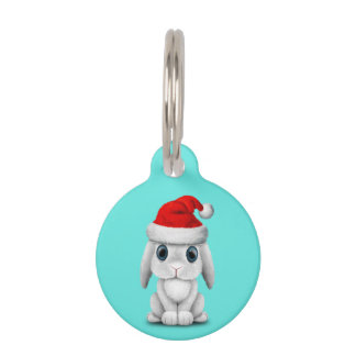 White Baby Bunny Wearing a Santa Hat Pet ID Tag
