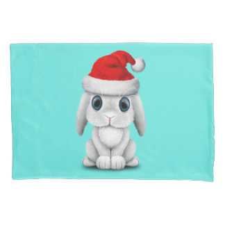 White Baby Bunny Wearing a Santa Hat Pillowcase