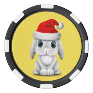 White Baby Bunny Wearing a Santa Hat Poker Chips