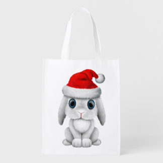 White Baby Bunny Wearing a Santa Hat Reusable Grocery Bag