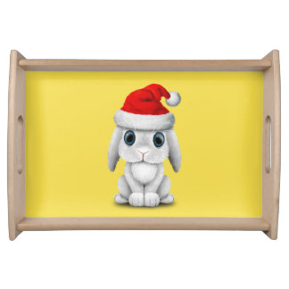 White Baby Bunny Wearing a Santa Hat Serving Tray