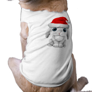 White Baby Bunny Wearing a Santa Hat Shirt