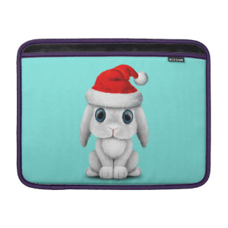 White Baby Bunny Wearing a Santa Hat Sleeve For MacBook Air