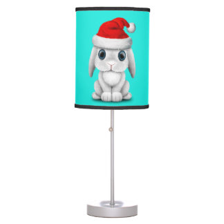 White Baby Bunny Wearing a Santa Hat Table Lamp