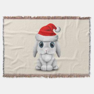 White Baby Bunny Wearing a Santa Hat Throw Blanket