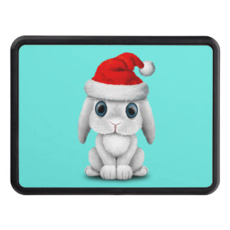 White Baby Bunny Wearing a Santa Hat Trailer Hitch Cover