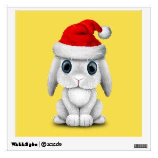 White Baby Bunny Wearing a Santa Hat Wall Sticker
