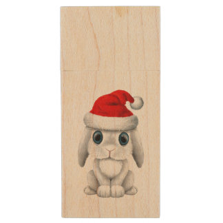 White Baby Bunny Wearing a Santa Hat Wood USB Flash Drive