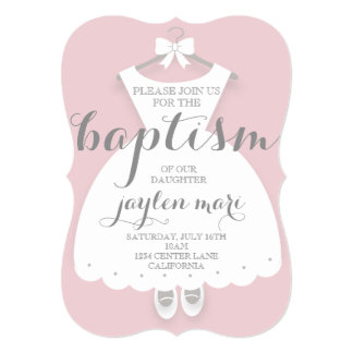 WHITE BABY DRESS ANY OCCASION INVITE