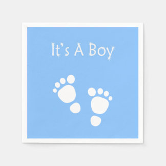 White baby foot - It's a boy  baby-shower Paper Napkin