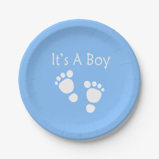 White baby foot - It's a boy  baby-shower Paper Plate