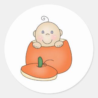White Baby in Pumpkin Classic Round Sticker