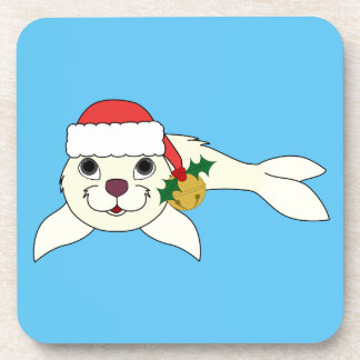 White Baby Seal with Santa Hat & Gold Bell Drink Coasters