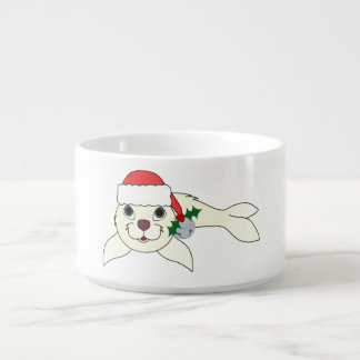 White Baby Seal with Santa Hat & Silver Bell Chili Bowl