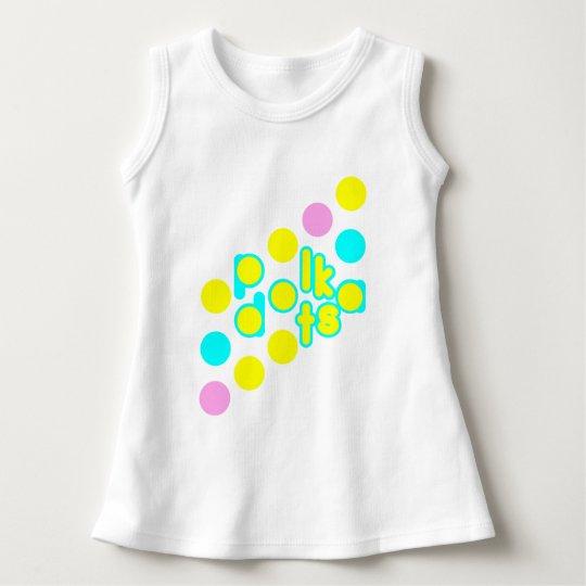 White Baby Sleeveless Dress W/ Polka dot Design