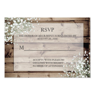 White Baby's Breath Rustic RSVP Card