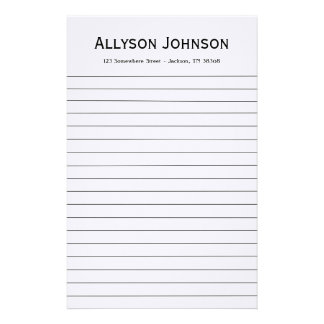White Background Personalized Stationary Stationery