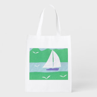 White Bag with a Sailboat Design Market Totes