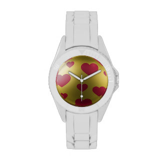 White Band Gold Face Pink Heart Watch