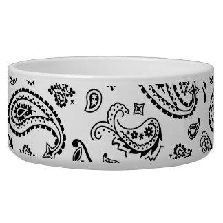 White Bandana Paisley Pet Food Bowl