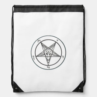 White Baphomet Drawstring Backpack