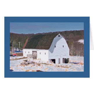 "White Barn in Snow on the ""National Pike"" Card"
