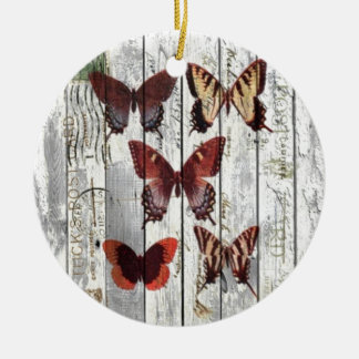 white barn wood french shabby chic butterfly ceramic ornament
