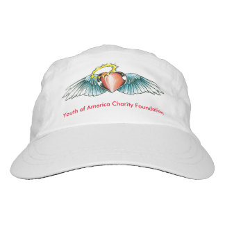White Baseball hat with wings with heart on it