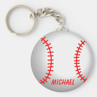 White Baseball Red Stitching Basic Round Button Keychain