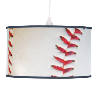 White Baseball red stitching blue trim Hanging Pendant Lamp