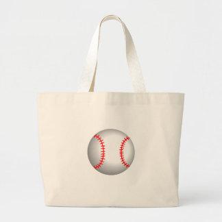 White Baseball Red Stitching Large Tote Bag