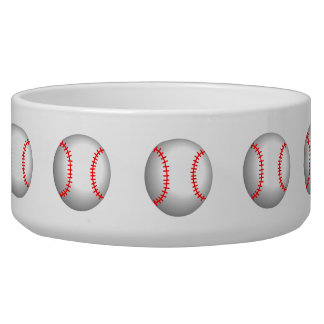White Baseball Red Stitching Pet Food Bowl