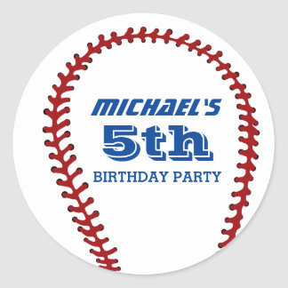 White Baseball Sticker for Kids Birthday Party