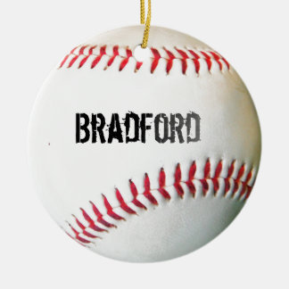 White Baseball with personalized name or text Ceramic Ornament