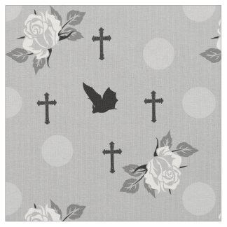White Bats and Roses Goth Fabric By The Yard