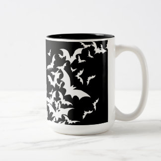 White Bats on Black Two-Tone Coffee Mug