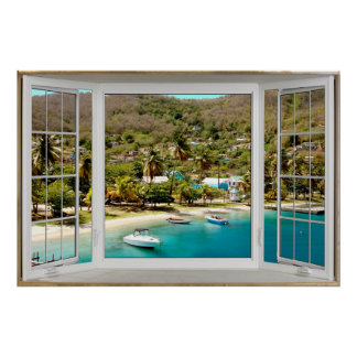 White Bay Window Illusion Caribbean Poster